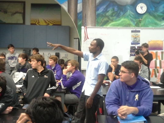 Sedrick presents to St. Augustine students.